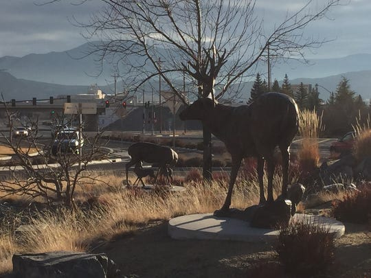 Deer statues in the center of the roundabout at Kietzke Lane and Neil Road in Reno