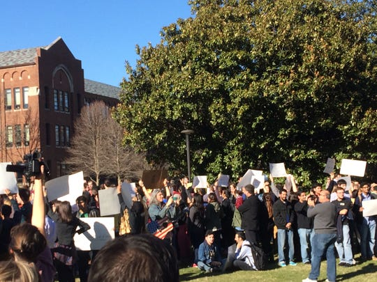 "Vanderbilt students protested against hate speech at a rally on Liberty Lawn near the campus rally, on Saturday, Jan. 17, 2015.  Students turned their backs against former SNL actress Victoria Jackson, who had a sign saying ""Ban Sharia."""