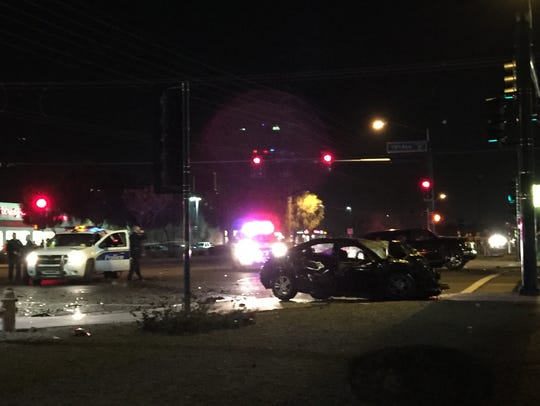 The collision occurred around 5:50 p.m., Monday, at