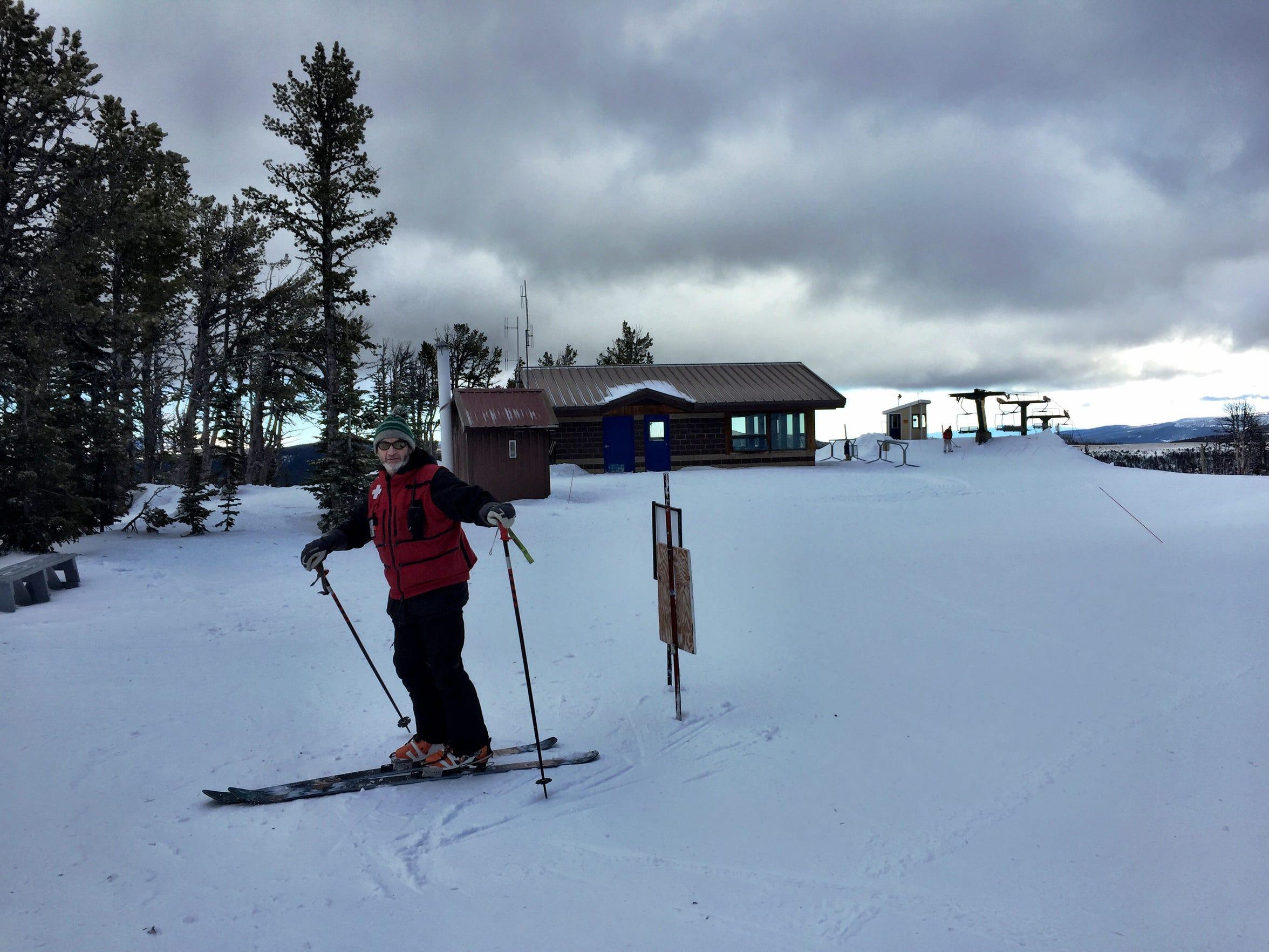 Great Falls Ski Patrol member Mark Paddock prepares