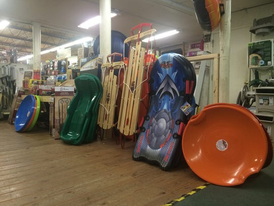 Sleds were available for sale at Hillsboro Hardware