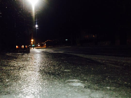 Looking north on Broadway in downtown Asheville: Ice as far as the eye could see.