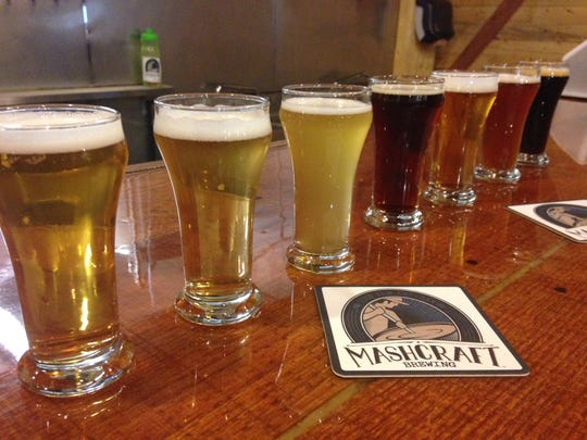 Samples of beer at MashCraft Brewing in Greenwood.