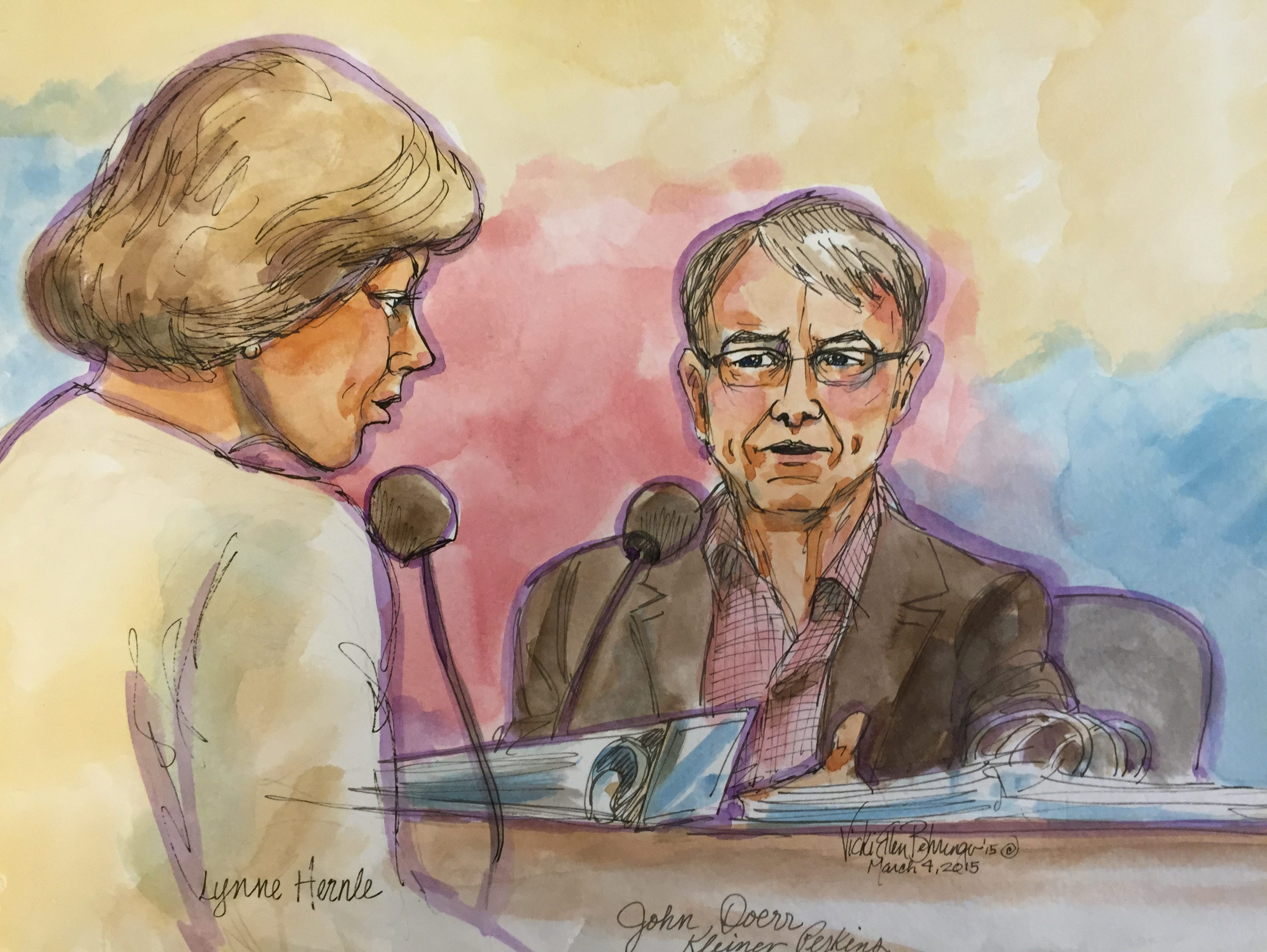 John Doerr on the stand March 4, 2015 in San Francisco Superior court in the gender discrimination trial of Ellen Pao versus venture capital firm Kleiner Perkins. He is being questioned by Kleiner lawyer Lynne Hermle