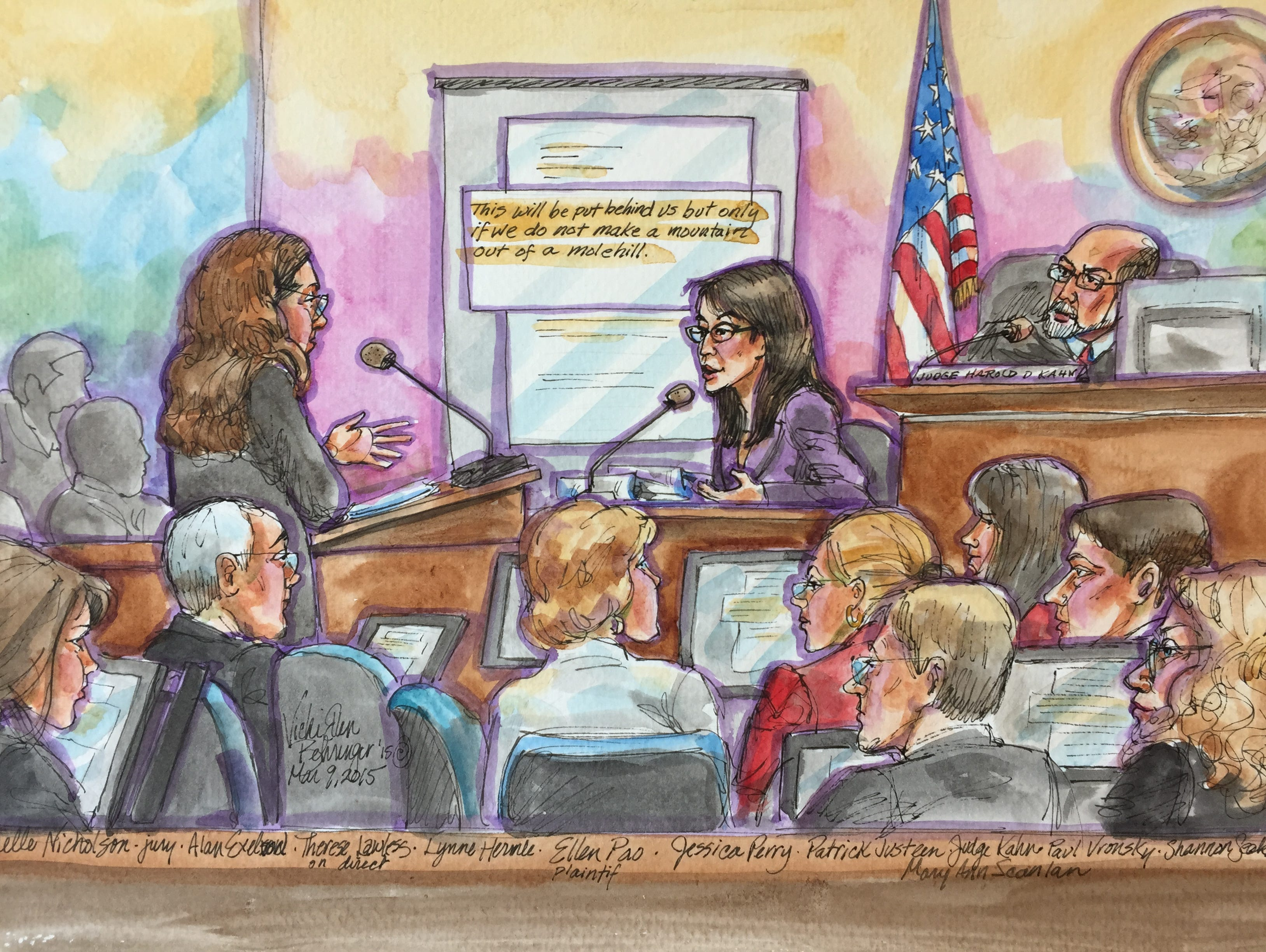 Ellen Pao on the stand in San Francisco Superior Court, being questioned by her lawyer, Therese Lawless. Another of her lawyers, Alan Exelrod, is in the foreground.