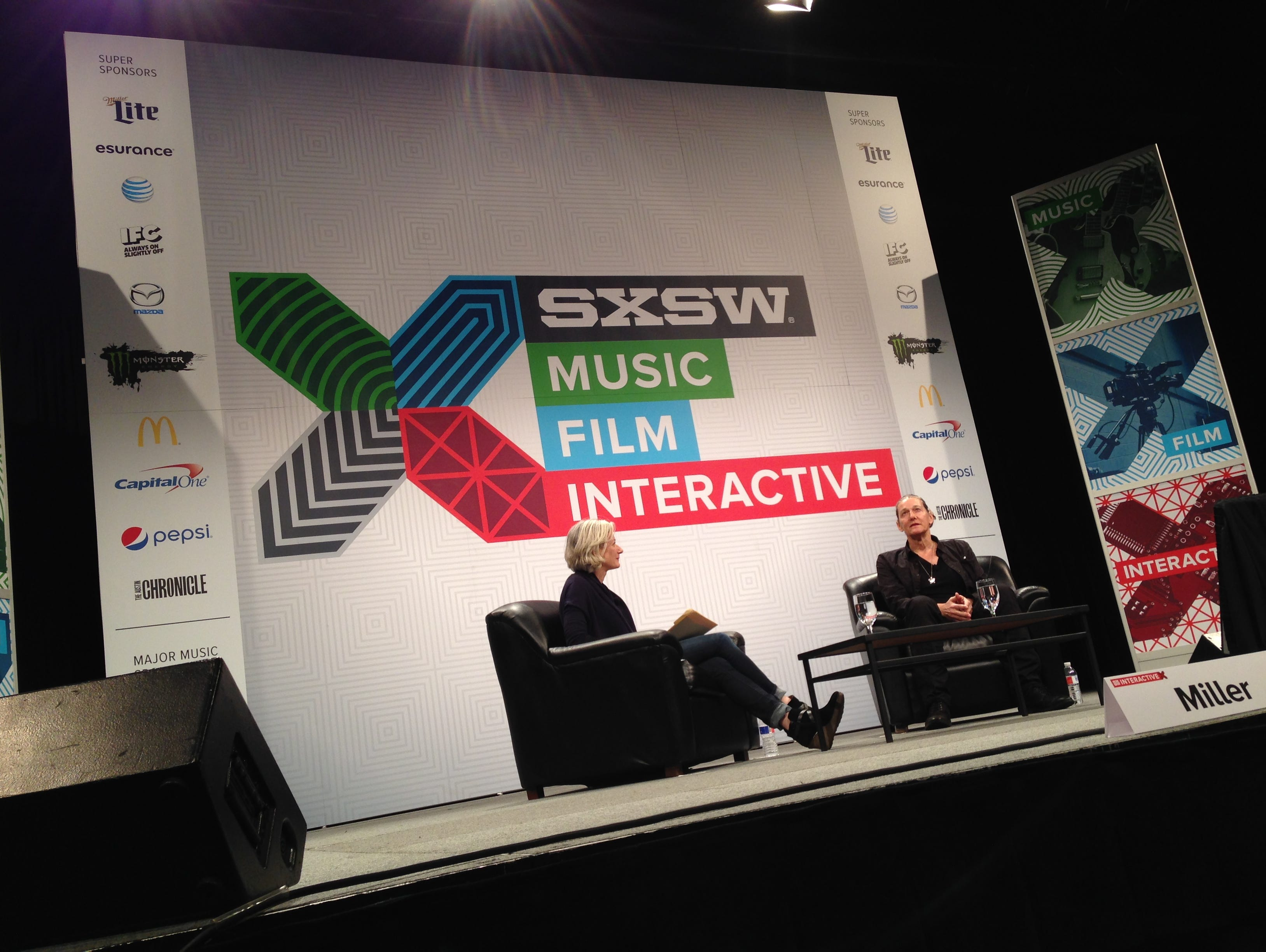 Martine Rothblatt, right, discusses the future of cyber technology Sunday at the SXSW Interactive  festival.