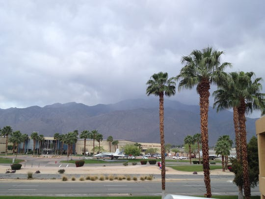 Rain fell in Palm Springs earlier this month. Forecasters said the Coachella Valley could get a half-inch of rain on Wednesday and a quarter-inch on Thursday.