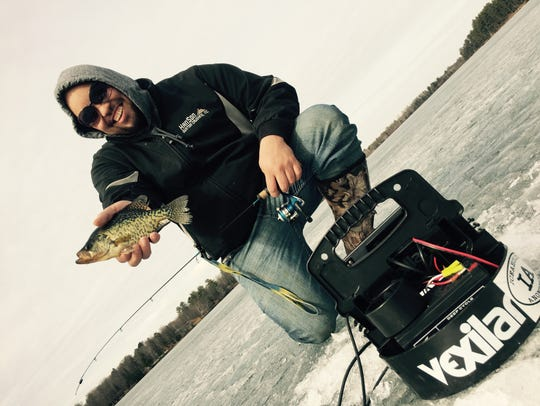 Ice fishing on the St. Louis River in March 2015 with