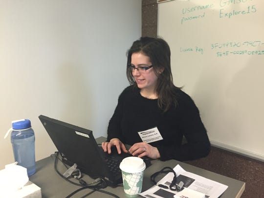 Hillary Latch, who develops web sites for Commercial Progression in Northville.