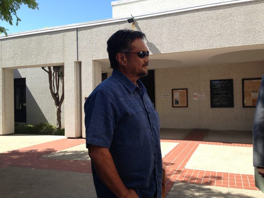 Robert Empasis stands outside Monterey County Superior Court on Thursday.