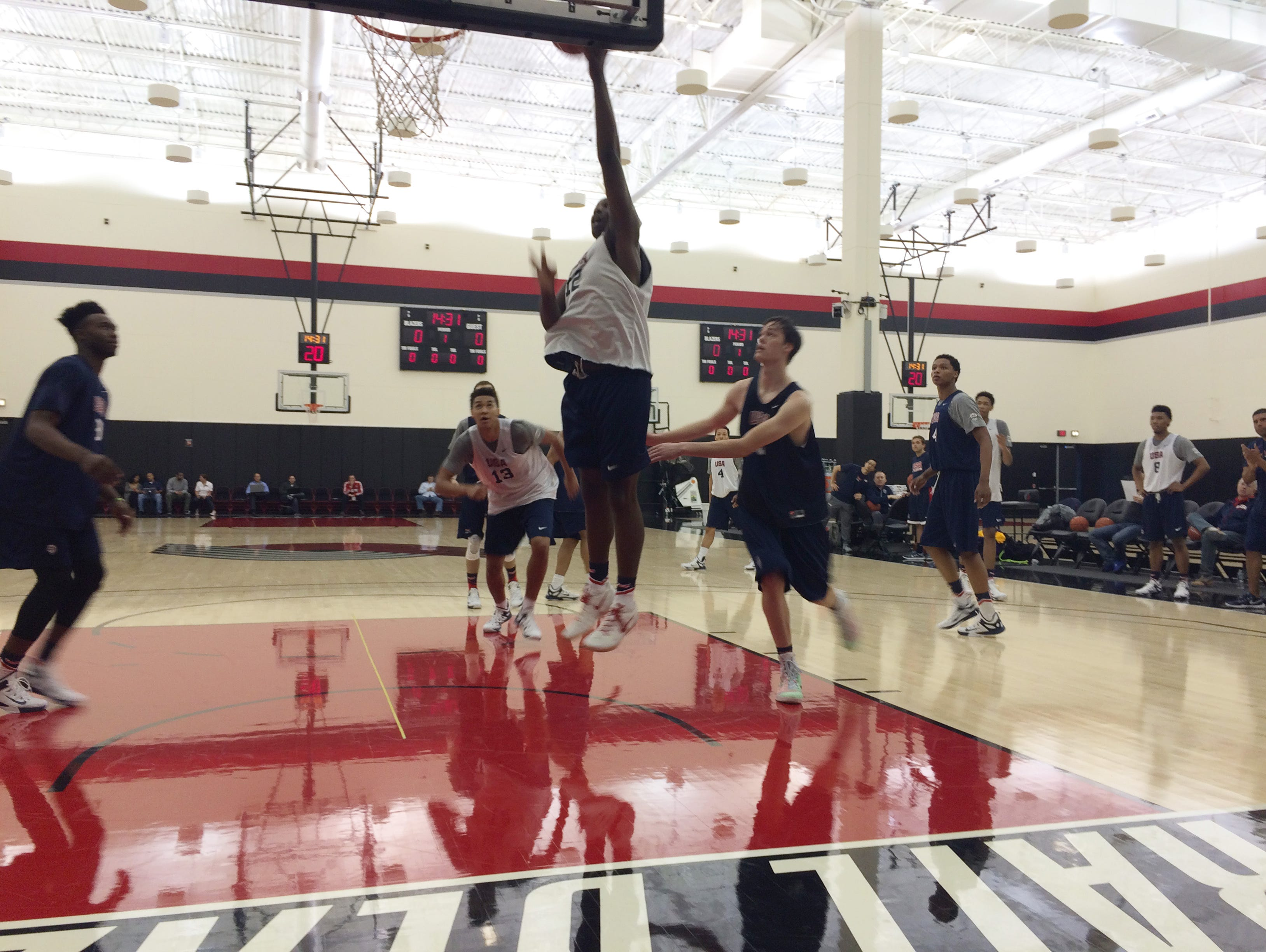 Caleb Swanigan puts up a layup in the USA team practice on Thursday afternoon.