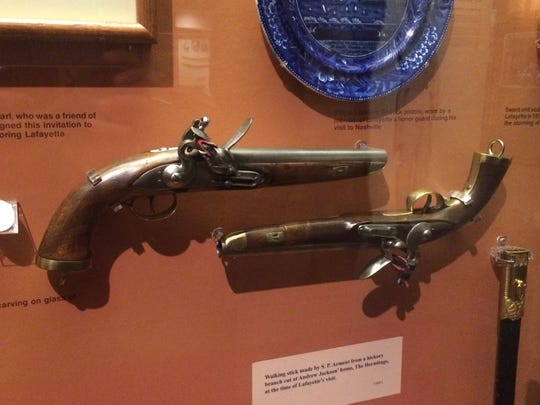 Pistols carried by Marquis de Lafayette's honor guard when he visited with Andrew Jackson at The Hermitage.