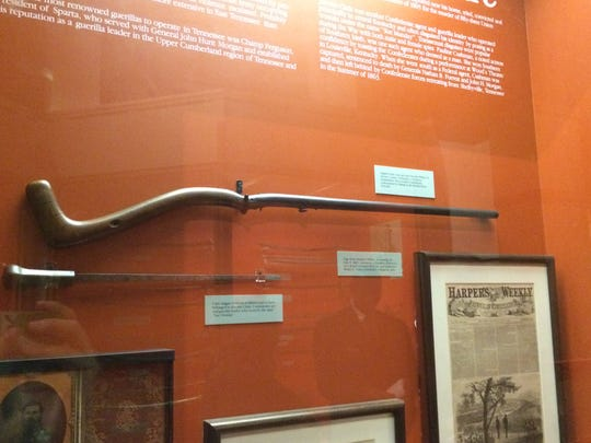 An English-made cane gun on display at the Tennessee State Museum.