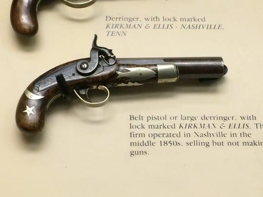 A belt pistol or large derringer made by Nashville gunsmith Franz Bitterlich.