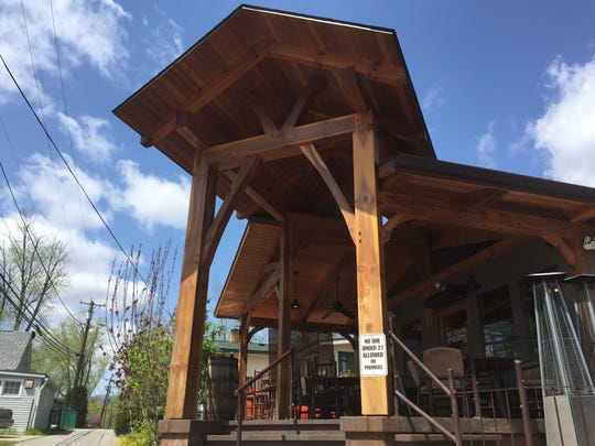 """Big Woods Brewing Co. in Nashville, Ind., sports a timber-frame design that evokes a treehouse. The look will mark the Speedway location when it opens next spring. """"If you can imagine this timber frame twice as big, that's going to be Speedway,"""" Big Woods co-owner Jeff McCabe said."""