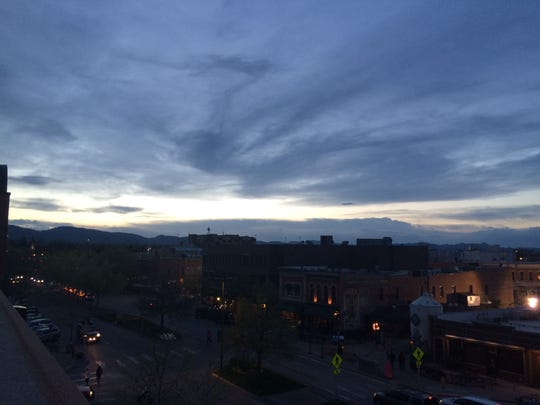 Just before nightfall from the parking garage.