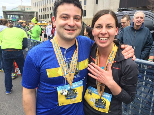 Eric Ludwig and Jaime Crosby, both of Chili, got engaged at the finish line.