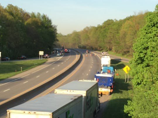 Trucks are lined up on I-84 on Thursday evening, with