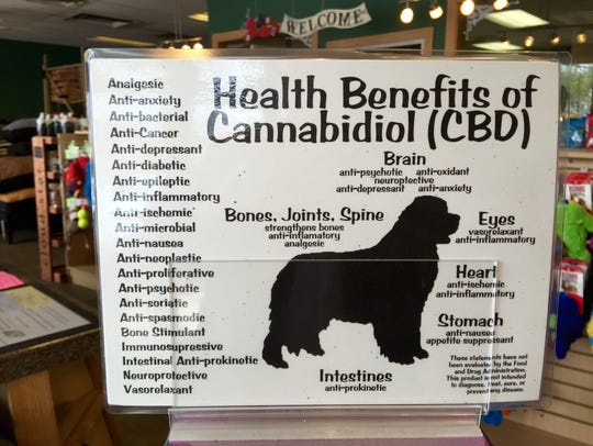A sign on a display at a Denver-area pet store lists