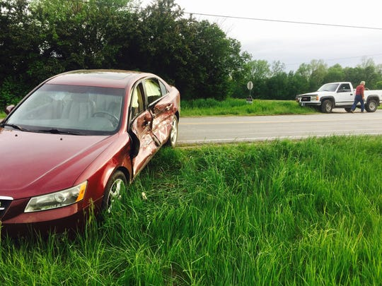 A truck collided with a car on Indiana 38 E. at County Road 950 Thursday evening.
