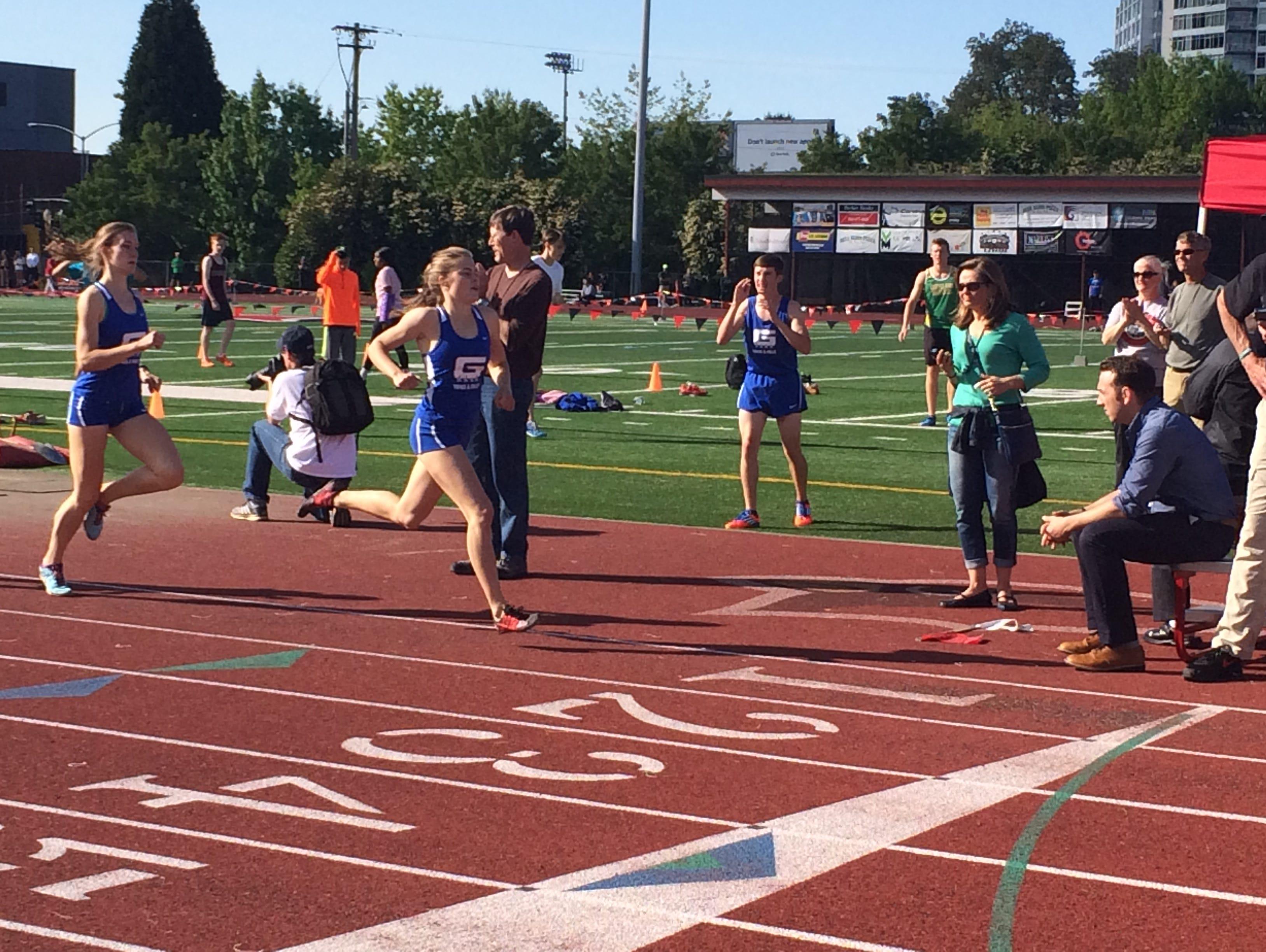 Ella Donaghu leads in the 800 meter race.