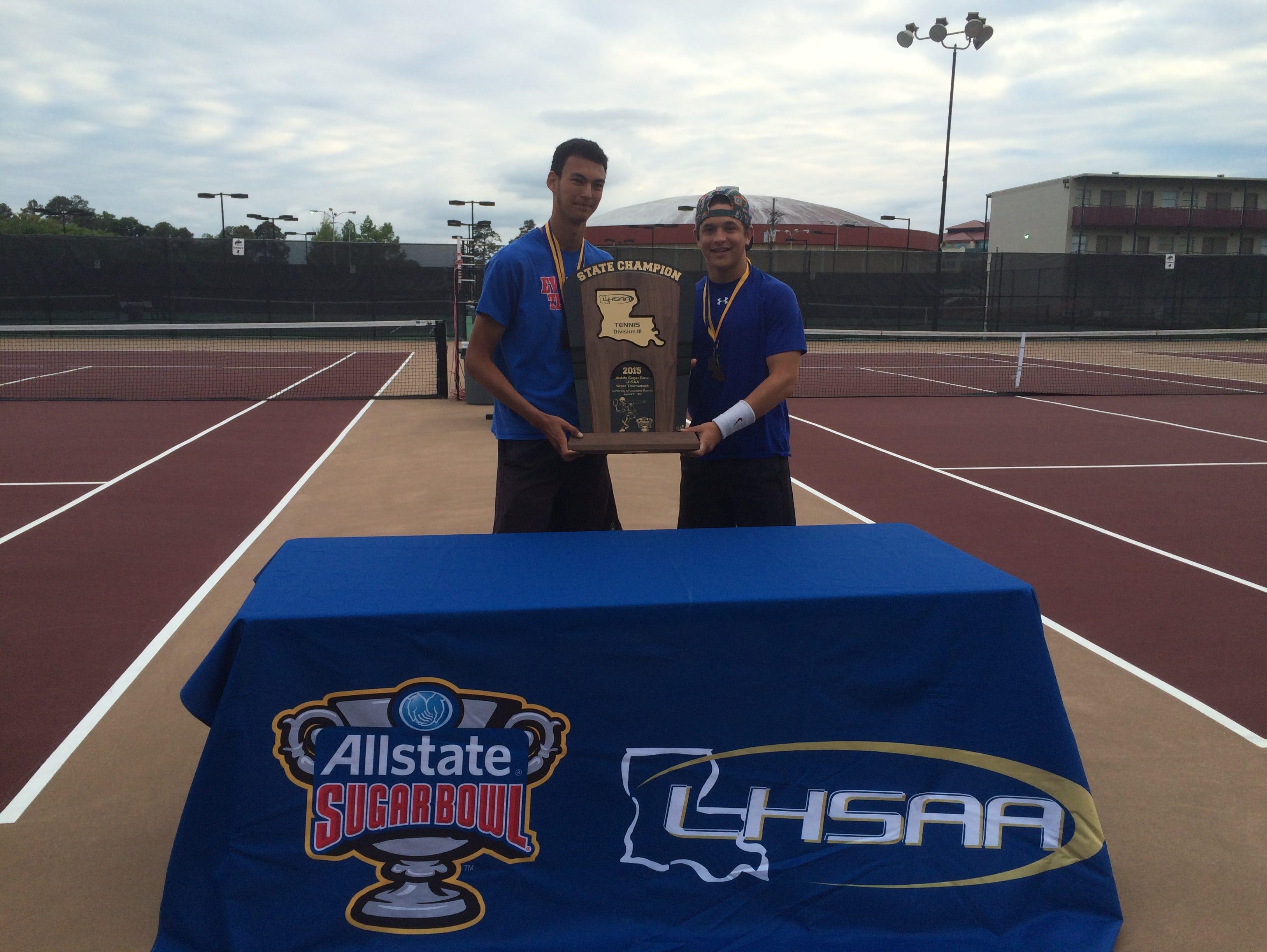 Evangel's Devon Sikora and Andrew Deutsch won their third straight doubles tennis title this past month.