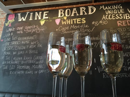Yes, expensive champagne is served at Louie's Wine Dive, but most wines are $6 to $9 a glass. Find everthing from easy pinots to complex Caymus cabernet sauvignon.