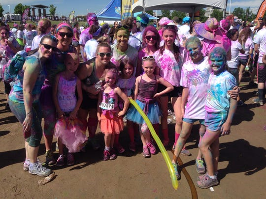 Color Vibe 5K with my kids and extended family.