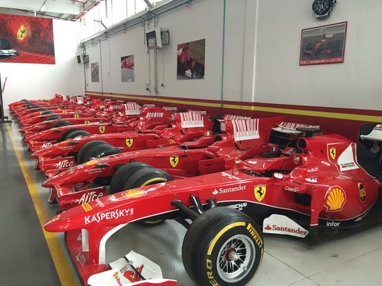 These are actual Ferrari Formula One race cars driven