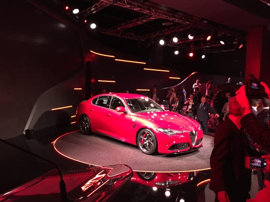 The Alfa Romeo Giulia is unveiled in Milan, Italy.