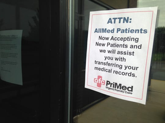 PriMed posted this sign on the closed All Med location. (Brad Harper/Advertiser)