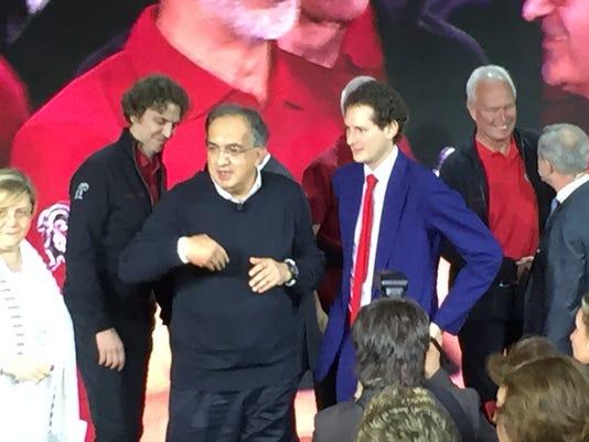 Sergio Marchionne and John Elaknn at Alfa Romeo Giulia reveal