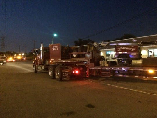 Trucks were on the scene to help clean up after four train cars derailed in Berry Hill.