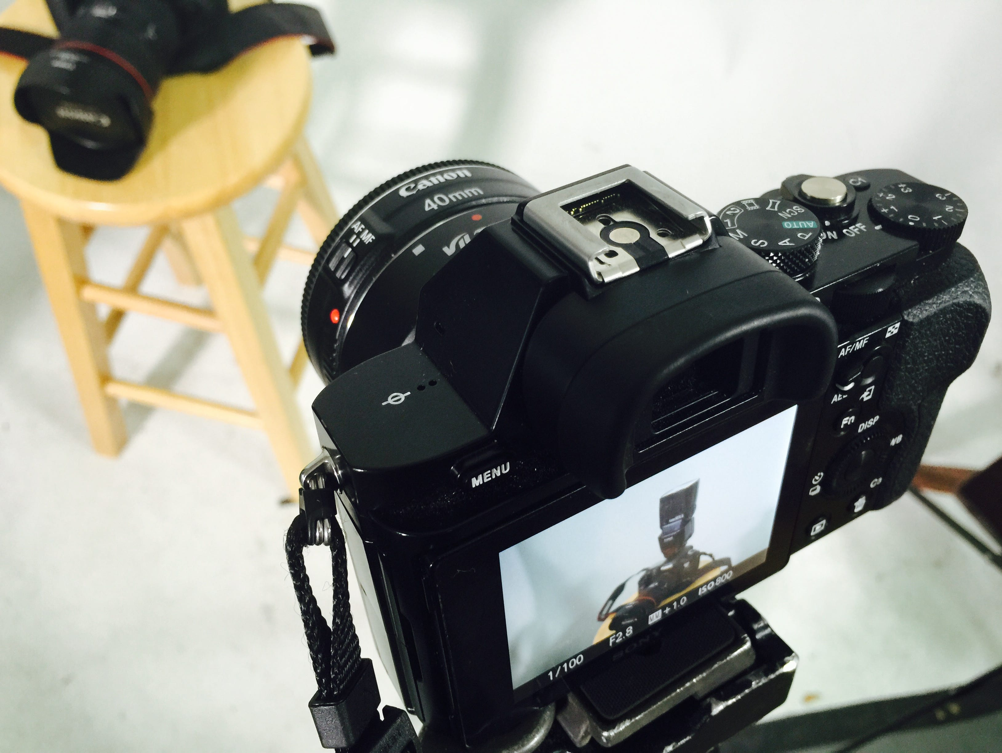 An iPhone is shooting a Sony A7S shooting a Canon 5D Mark III