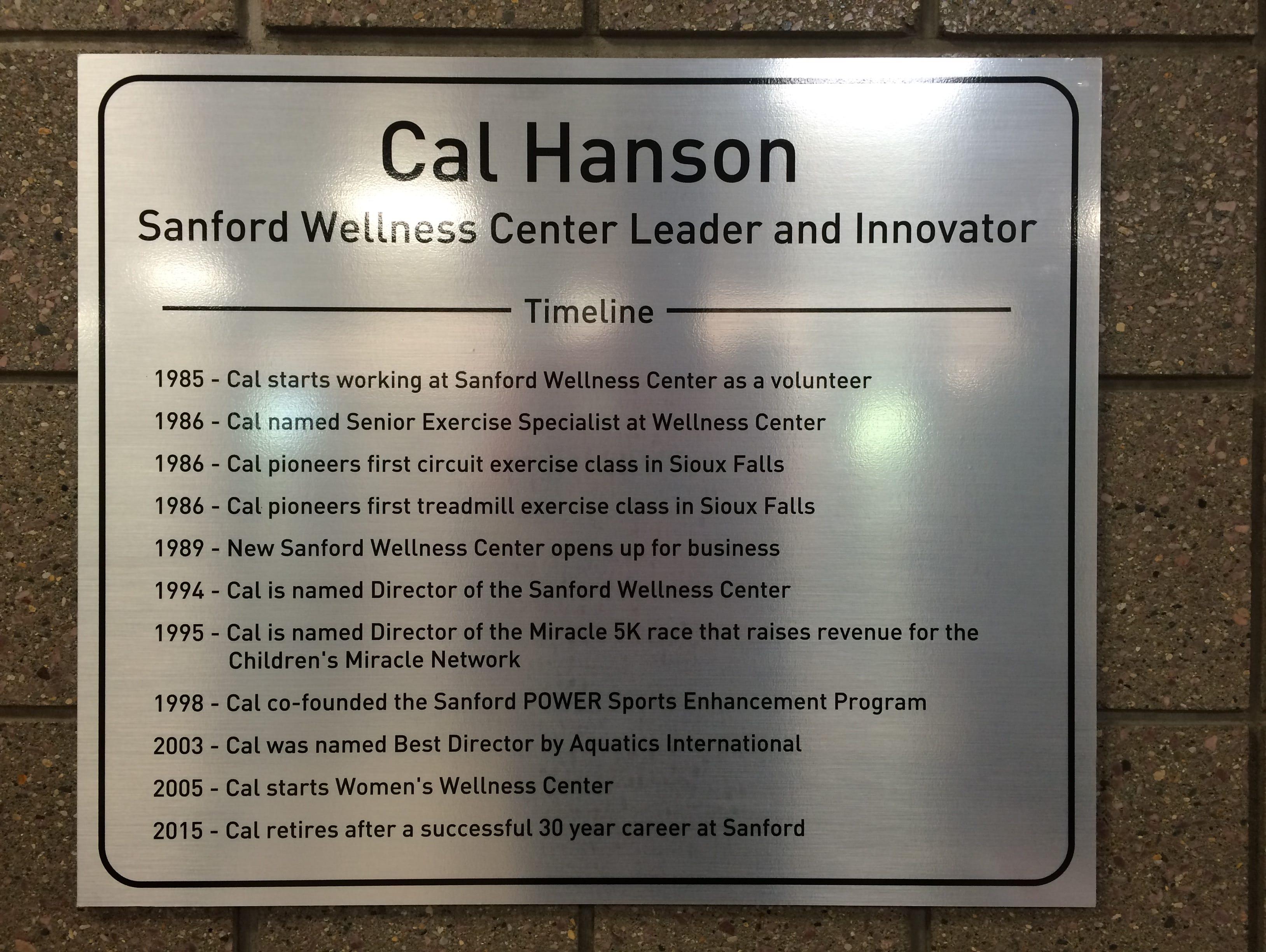 Cal Hanson plaque