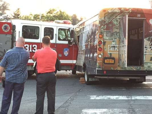 Firetruck collides with bus in Yonkers 7/29/2015