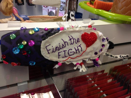 """Finish the fight -- childhood cancer"" pointe shoe"