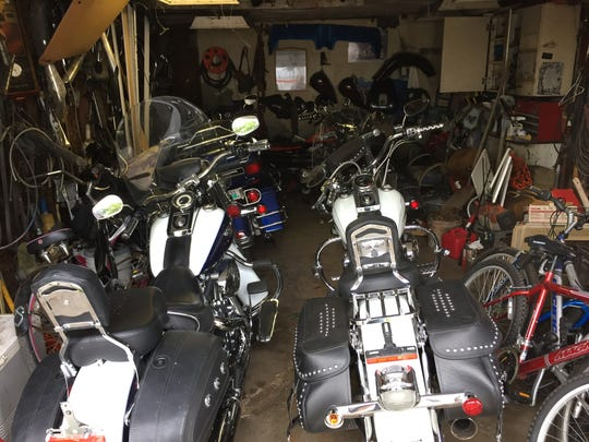 Police said six stolen motorcycles were found in St. Clair Shores garage.