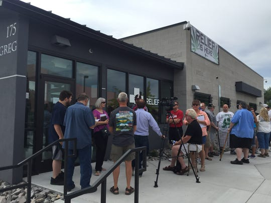 People line up Friday morning at Silver State Relief in Sparks. It's the first medical marijuana dispensary in the state.