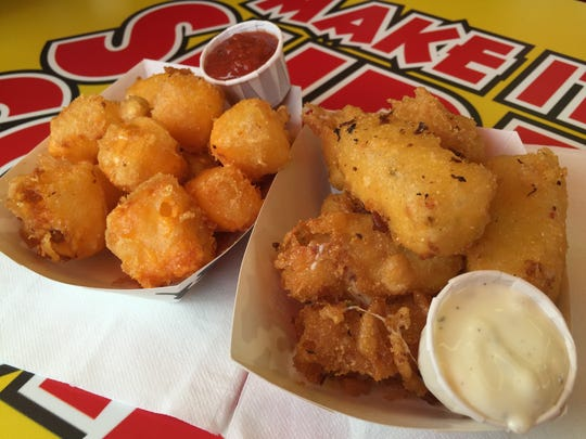 Wisconsin Hot Cheese, classic cheddar or pepper jack, is my favorite food at the fair. Look for it near the rides.