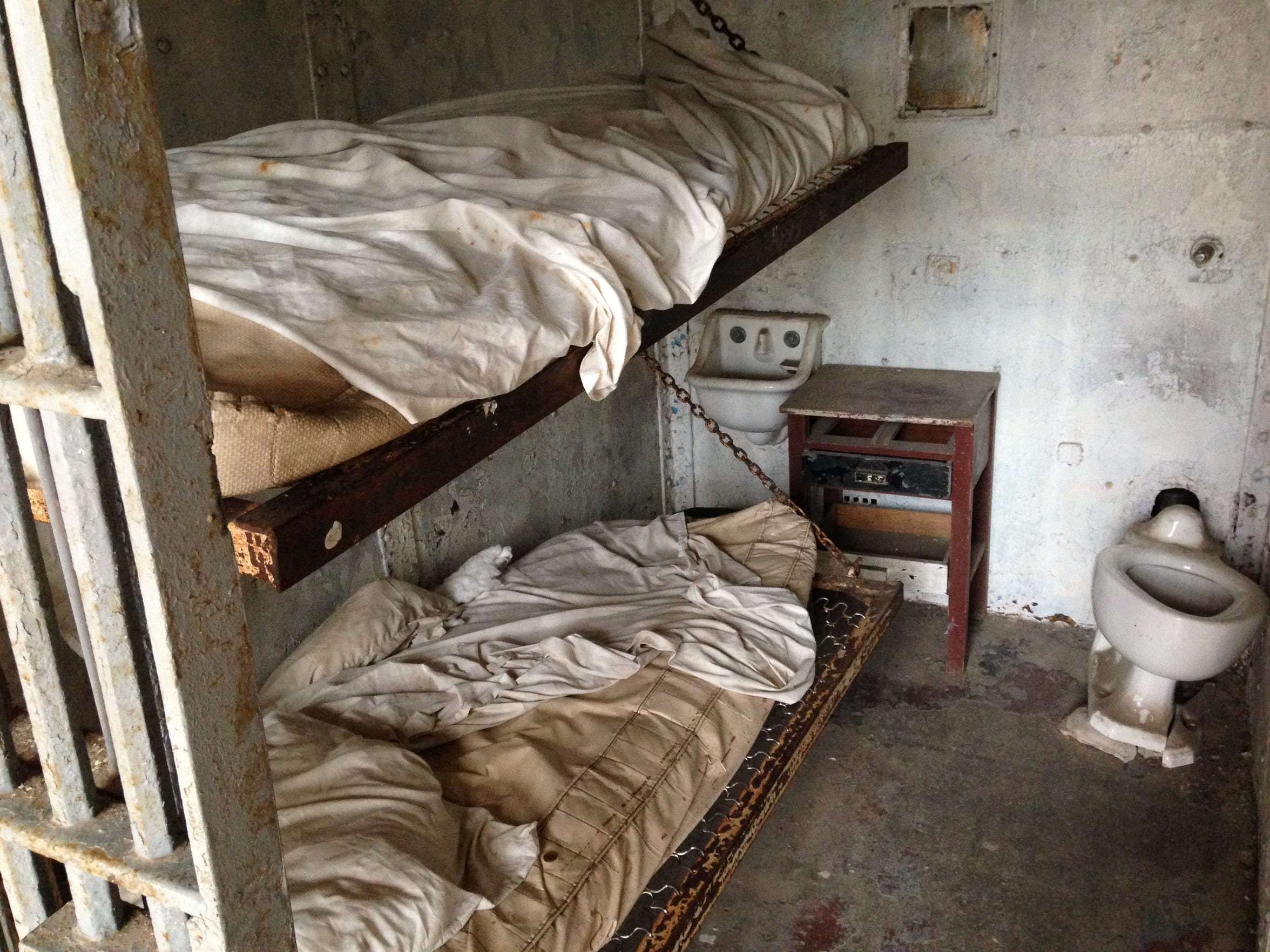A prison cell at the Ohio State Reformatory in Mansfield.