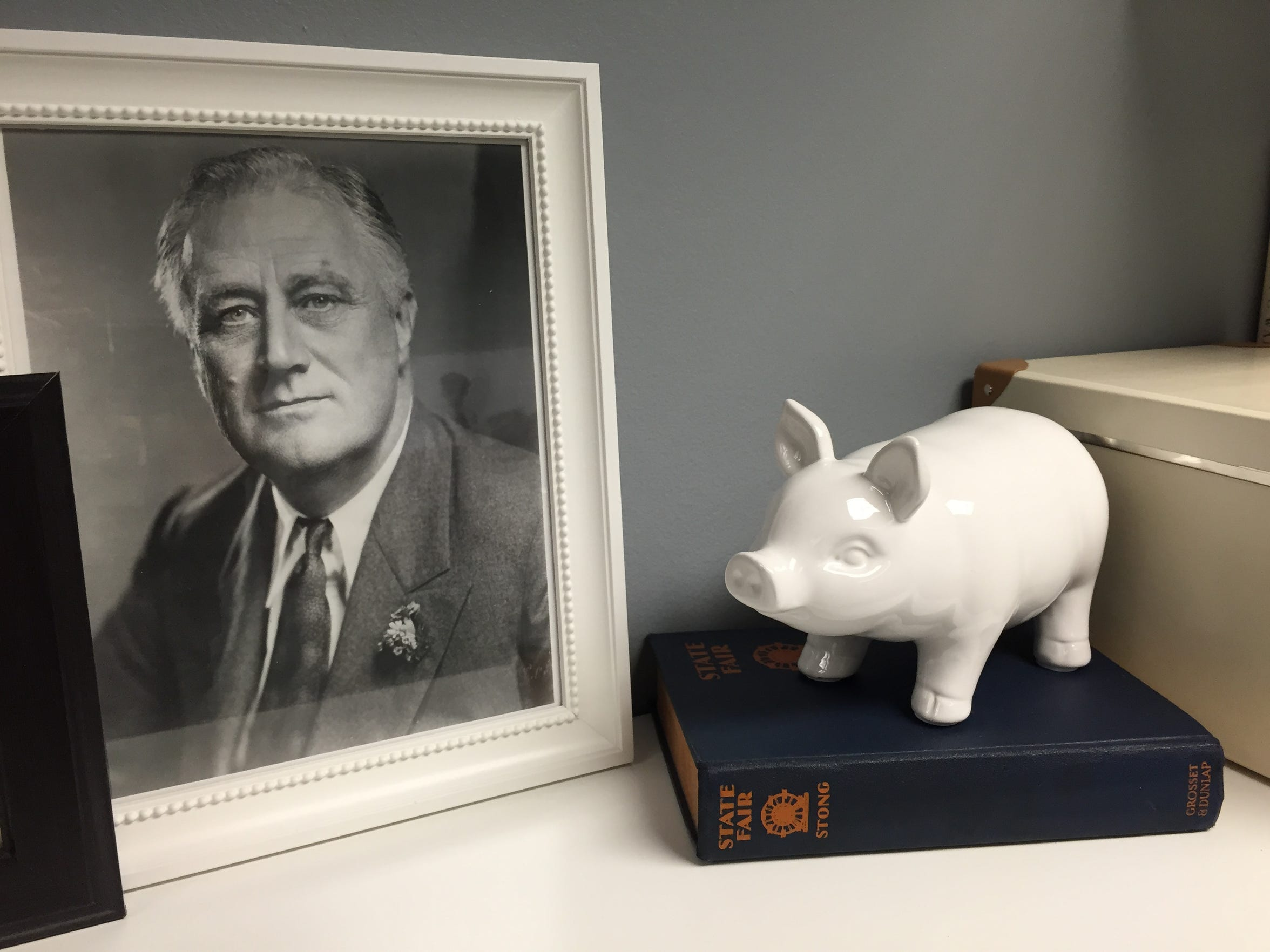"FDR and Phil Stong's ""State Fair"" decorate Shawn Head's office."
