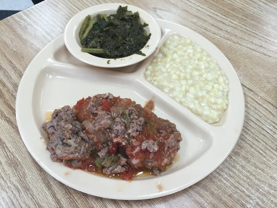 Meatloaf, fried corn and turnip greens at Sylvan Park restaurant in Murfreesboro.
