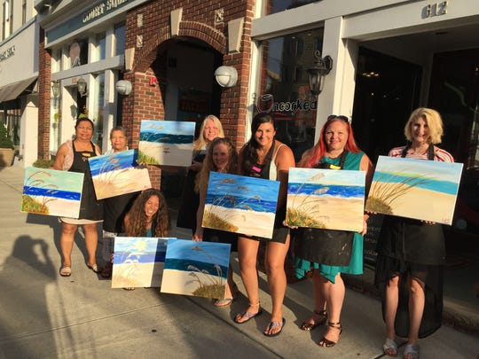The 13 weeks crew and folks who joined them for painting at Uncorked.