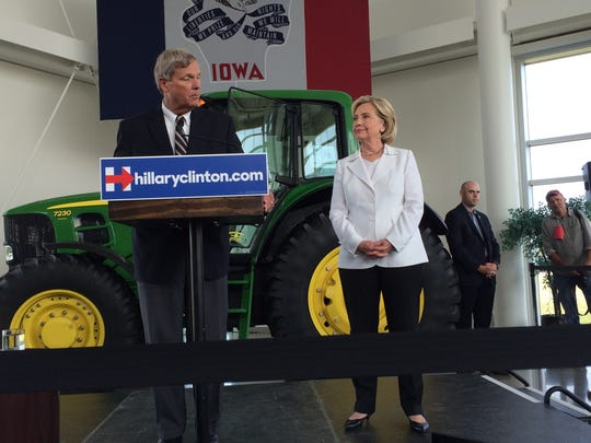 Agriculture Secretary Tom Vilsack with Democratic presidential candidate Hillary Clinton in Ankeny.