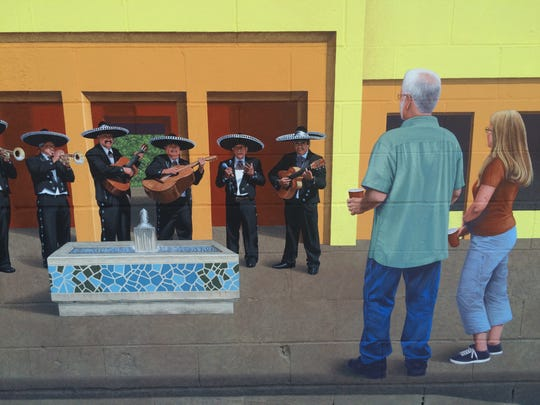 The Placita mural artist, John Neal, worked from photos of real people, including members of the band Mariachi Azteca, his church pastor, Dave MacKinnon, and the pastor's wife, Linda.