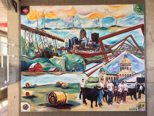 Ben Schuh's mural at the Iowa State Fair's Cultural Center is a tribute to both Iowa and his late uncle, Jim McGough.