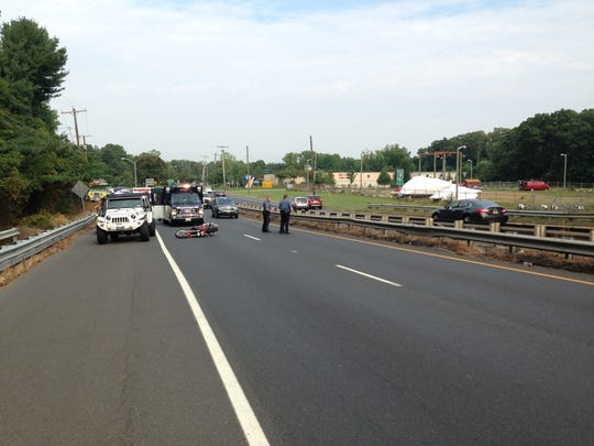 Police are at the scene of a motorcycle crash Monday