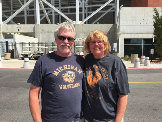 Gil and Judy Nutter from Redford outside Rice-Eccles Stadium on Sept. 2, 2015, in Salt Lake City.