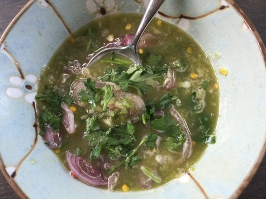 A tangy, bracing sauce used to dip the fish.